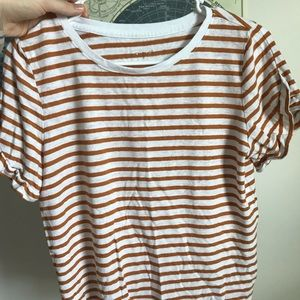 Tops - Striped Tshirt with Sleeve Detail